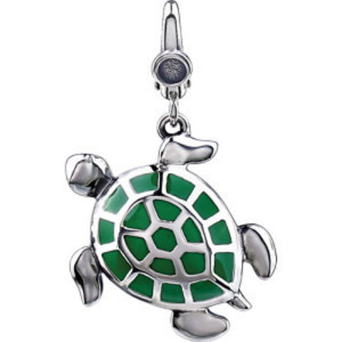 TURTLE CHARM and PENDANT STERLING SILVER GREEN ENAMEL RETAIL $80 + TAX!