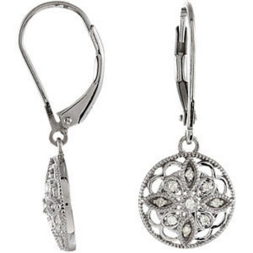 (0.10 Carat) Sterling Silver Antique, Vintage, Filigree Style Diamond Earrings