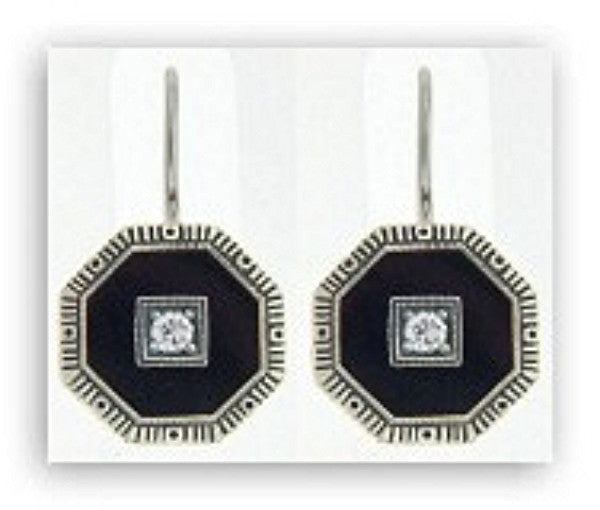 ANTIQUE STERLING SILVER EARRINGS BLACK ONYX DIAMOND