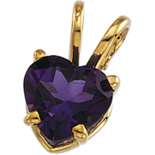 14K Yellow Gold Heartshaped Amethyst (.75 Carat) Pendant