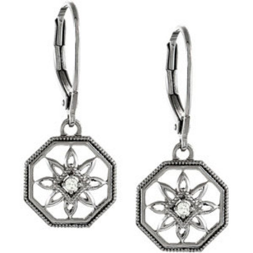 DIAMOND EARRINGS STERLING SILVER FLOWER DESIGN