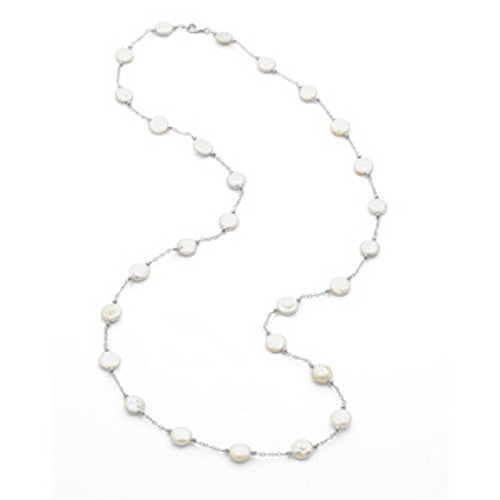 WHITE COIN PEARL NECKLACE STERLING SILVER 38 INCH RETAIL $195 + TAX!