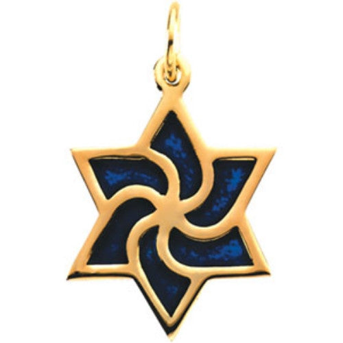 "14k Yellow Gold Star of David Pendant with Cobalt Blue Enameling (1/2"")"