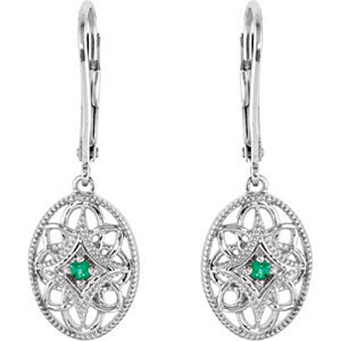 GENUINE GREEN EMERALD EARRINGS STERLING SILVER  RETAIL $175 + TAX!