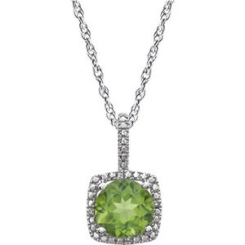 PERIDOT AND DIAMOND PENDANT NECKLACE w STERLING SILVER CHAIN RETAIL $160 + TAX!