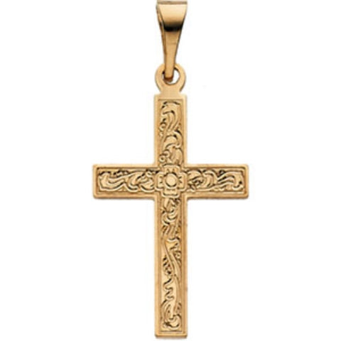 "14K Solid Gold Cross Pendant (3/4"" x 1/2"")"