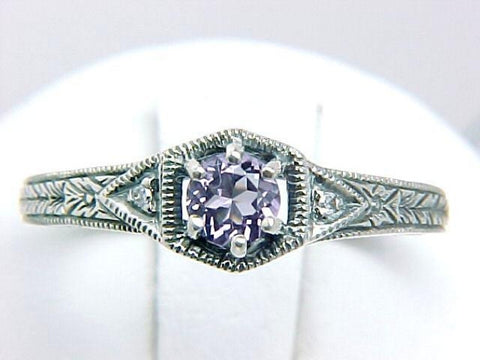 Sterling Silver Vintage Antique Filigree Style Amethyst (.15 Carat) Ring w/ Diamond Accents