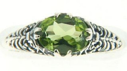PERIDOT RING STERLING SILVER FILIGREE ANTIQUE STYLE RETAIL $125 + TAX!