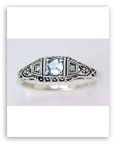 ANTIQUE STYLE STERLING SILVER RING BLUE TOPAZ w DIAMOND