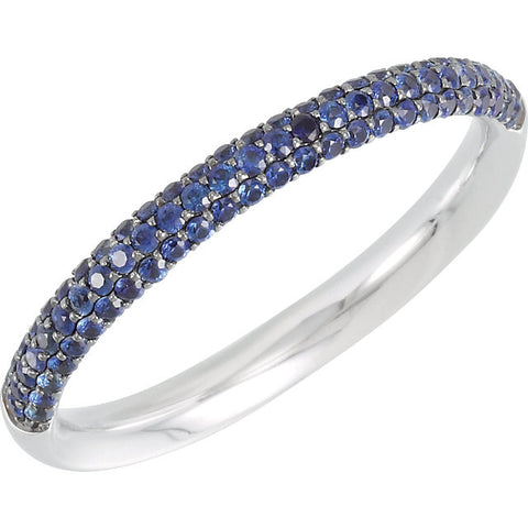 (0.40 Carat) 14K White Gold Three Row Blue Sapphire Anniversary Wedding Band