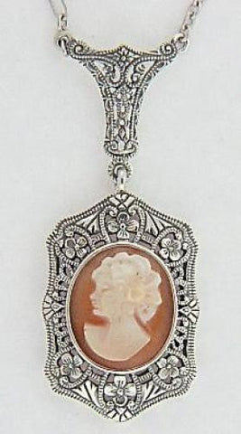 ANTIQUE STYLE STERLING SILVER NECKLACE CAMEO FILIGREE PENDANT