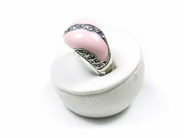 PINK ENAMEL RING with MARCASITE STERLING SILVER SIZE 7 RETAIL $95 + TAX!