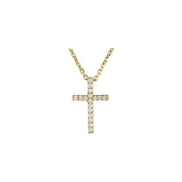 "(0.085 Carat) 14K Yellow Gold + Diamond Cross Pendant Cable Chain Necklace (16"")"