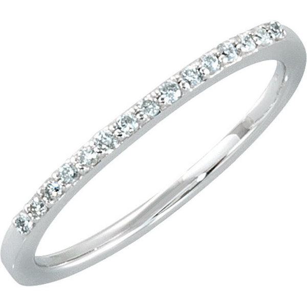 (0.12 Carat) 14K White Gold Diamond Wedding Anniversary Band (Color: G/H, Clarity: SI)