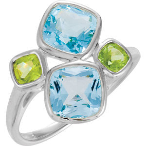 STERLING SILVER RING SKY BLUE TOPAZ AND PERIDOT RETAIL $185 + TAX!