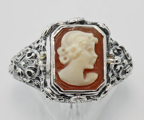 ANTIQUE STYLE FLIP RING CAMEO AND BLACK ONYX STERLING SILVER