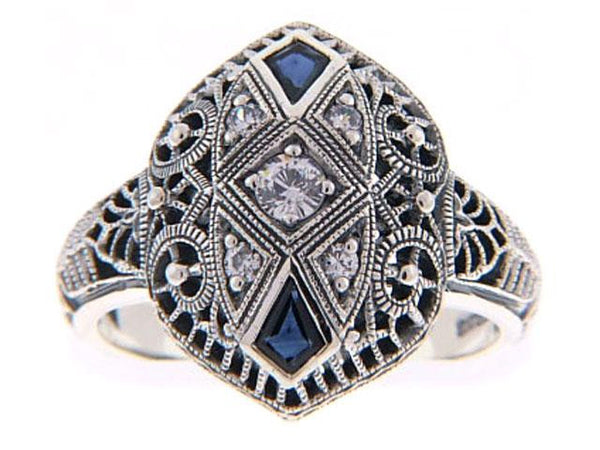 BLUE SAPPHIRE  RING ANTIQUE STYLE STERLING SILVER