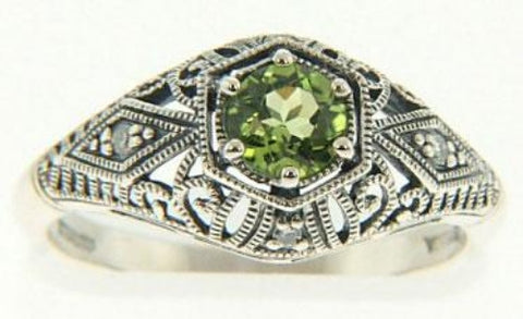 PERIDOT AND DIAMOND RING ANTIQUE STYLE FILIGREE STERLING RETAIL $195 + TAX!