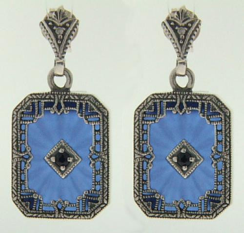 ANTIQUE STYLE STERLING EARRINGS BLUE CRYSTAL SAPPHIRE