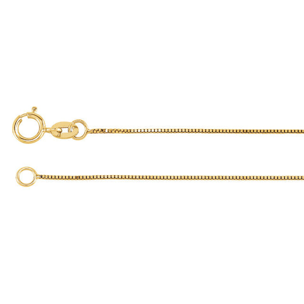 "14K Yellow Gold Box Link Chain Necklace (.5MM) (20"")"