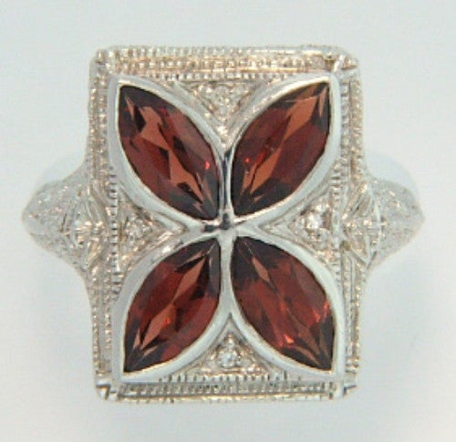 GARNET w DIAMOND RING STERLING SILVER FILIGREE ANTIQUE STYLE RETAIL $215 + TAX!