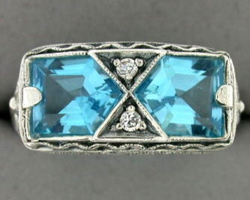 ANTIQUE STERLING SILVER RING BLUE TOPAZ FILIGREE