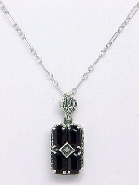 ANTIQUE STERLING NECKLACE GARNET DIAMOND CHAIN