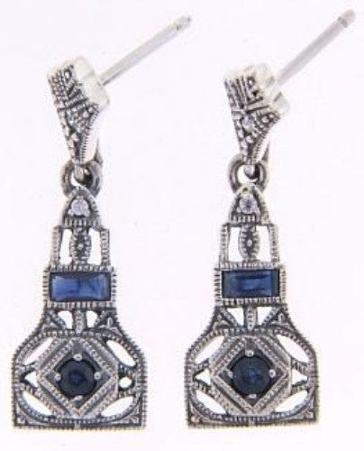 ANTIQUE  STYLE EARRINGS GENUINE SAPPHIRE and CZ