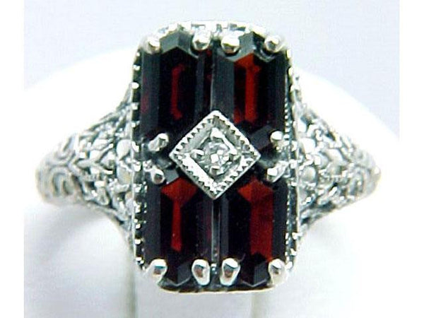 ANTIQUE  STERLING SILVER RING GARNET DIAMOND