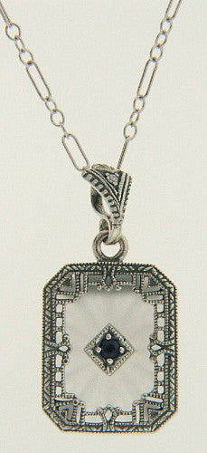 ANTIQUE STYLE STERLING SILVER PENDANT SAPPHIRE DIAMOND CRYSTAL