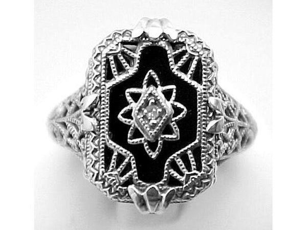Sterling Silver Vintage Antique Style Black Onyx Ring w/ Diamond Center