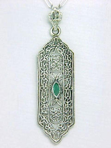 ANTIQUE STYLE STERLING SILVER NECKLACE EMERALD PENDANT FILIGREE