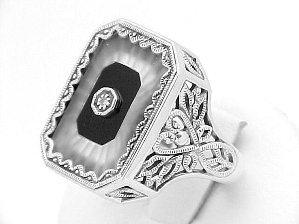 STERLING SILVER RING CRYSTAL DIAMOND BLACK ONYX ANTIQUE STYLE RETAIL $300 + TAX!