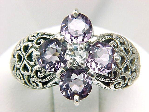 ANTIQUE STYLE STERLING SILVER RING AMETHYST