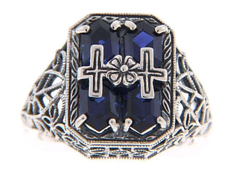 ANTIQUE STERLING RING BLUE STONE