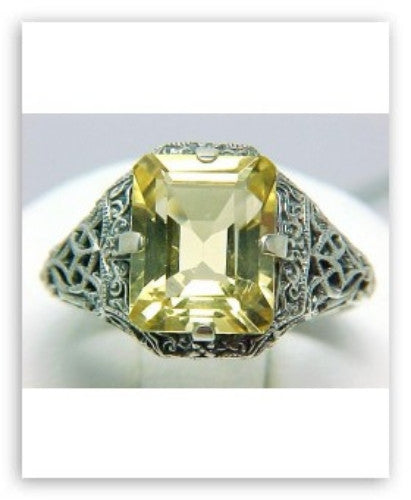ANTIQUE STYLE STERLING SILVER RING CITRINE 2.50 CTS!