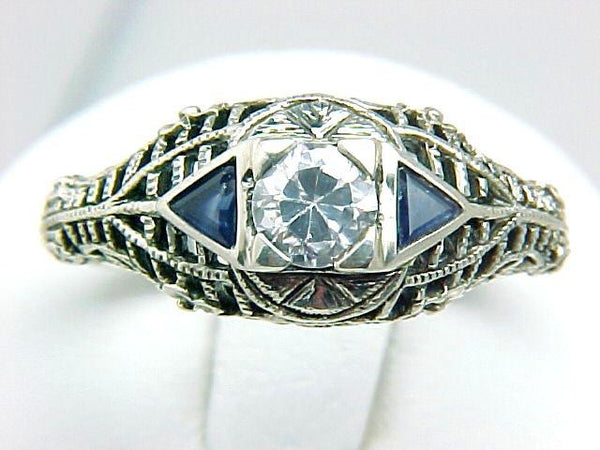 ANTIQUE STERLING RING SIM DIAMOND w SAPPHIRE DECO