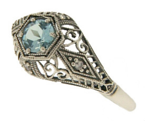 ANTIQUE STYLE STERLING SILVER RING BLUE TOPAZ FILIGREE