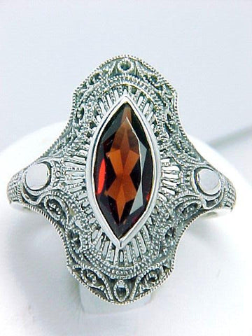 GARNET RING STERLING SILVER ART DECO VINTAGE STYLE RETAIL $180 + TAX!