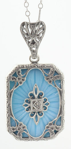 ANTIQUE STERLING SILVER NECKLACE TURQUOISE DIAMOND