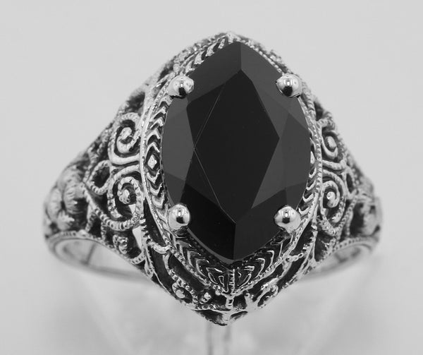 ANTIQUE STERLING SILVER  RING BLACK ONYX FILIGREE DECO