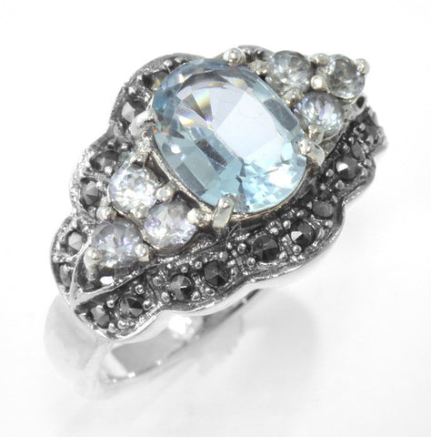 ANTIQUE STYLE STERLING SILVER RING BLUE TOPAZ MARCASITE