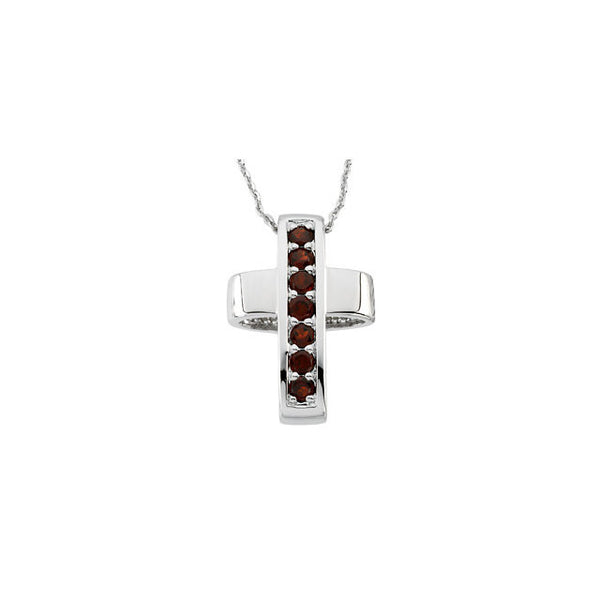 STERLING SILVER CROSS PENDANT GARNET CHAIN