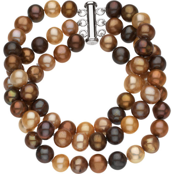 TRIPLE STRAND CHOCOLATE PEARL BRACELET STERLING CLASP RETAIL $115 + TAX!
