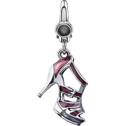 SHOE CHARM HIGH HEEL RED ENAMEL STERLING SILVER RETAIL $75 + TAX!