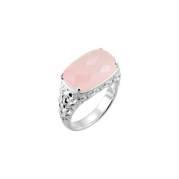 STERLING SILVER RING PINK ROSE QUARTZ= 12 CARATS! RETAIL $150 + TAX!