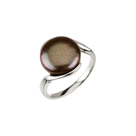 BLACK COIN PEARL RING STERLING SILVER