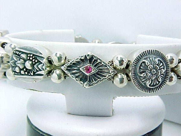 ANTIQUE STERLING SILVER SLIDE BRACELET GARNET