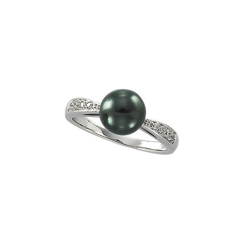 14K White Gold Tahitian Black Pearl (8MM) + Diamond Ring