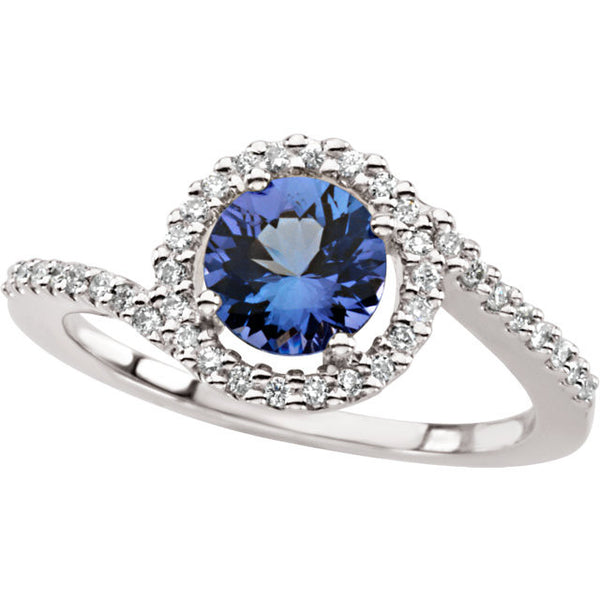 TANZANITE AND DIAMOND RING 14K WHITE GOLD RETAIL $2800 + TAX!
